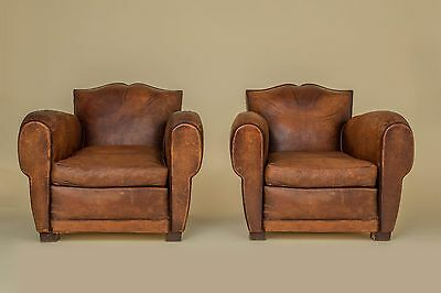 CHATEAU D' HAUTEFORT French Moustache Leather Club Chairs 1940s.