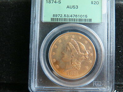 1874-S $20 Gold Liberty Double Eagle - Lower Existing Population -Nice PCGS AU53