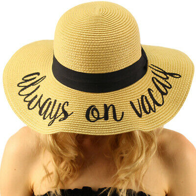 "Fun Verbiage Elegant Wide Brim 4"" Summer Derby Beach Pool Floppy Dress Sun Hat"