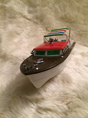 Vintage rare 1960's battery operated toy boat cabin cruiser