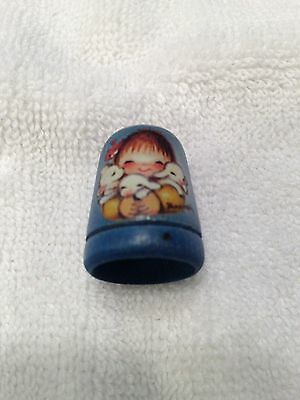 Collectible Wooden Sewing Thimble, ANRI Italy 1979, Little Girl with Lamb