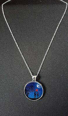 """Loving Couple Pendant On 18"""" Silver Plated Fine Metal Chain Necklace Gift N790"""