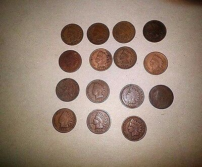 Indian Head Penny Lot of 15 Cents