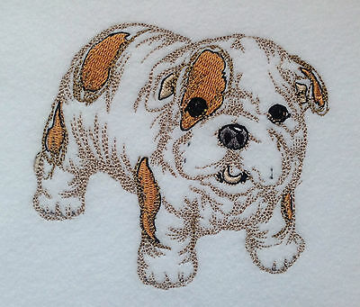 Completed Embroidery Cute Little English Bulldog Puppy