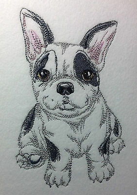 Completed Embroidery Cute Little Boston Terrier Puppy