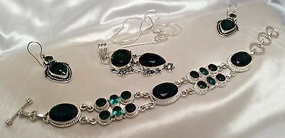 Qaulity Diopside/Peridot Necklace Bracelet&Earring Set 925 Silver Fill& Giftbag