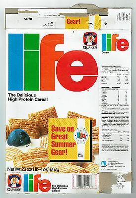 Quaker Life 20 oz. Cereal Box 1987 - Life Watch offer