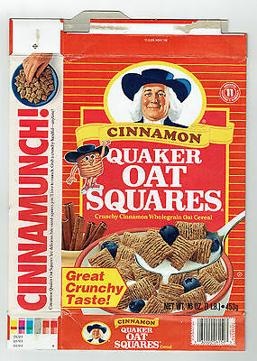 Quaker Cinnamon Oat Squares 16 oz. Cereal Box 1992 - Oat Square Cartoon