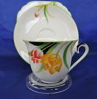 Art Deco Hand Painted Noritake Teacup, Saucer and Plate