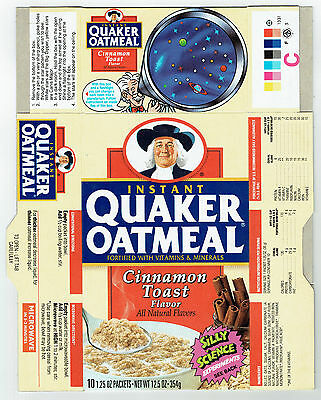 Quaker Oatmeal Cinnamon Toast Flavor 12.5 oz. Cereal Box 1991 - Silly Science #3
