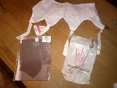 """Vintage Stockings &crown Fifties Suspender Belt-Nos Tagged Rare Corsetry 28"""""""