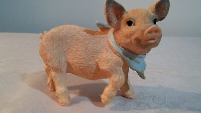 Small Pink Pig with Blue Hankerchief Resin Figurine