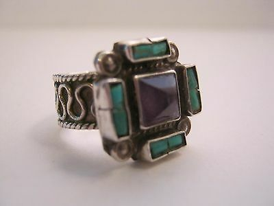 MATL Matilde Poulat Vintage Mexican Silver Ring w Turquoise & Amethyst Stones