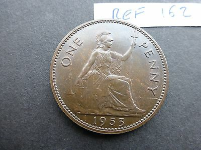 Queen Elizabeth 11 Penny coin 1953 Uncirculated      Ref 162