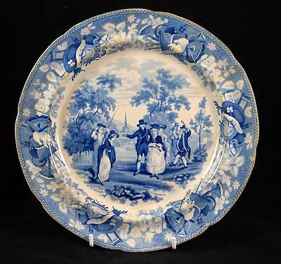 """Antique ROGERS Blue & White Pearlware 'The Drama' 10"""" Plate c.1820"""