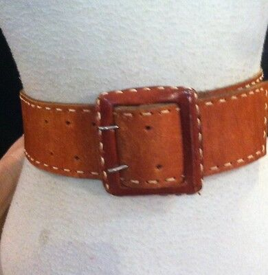 Vintage 40s 50s Pin Up Cinch Brown Leather Belt Sz Small