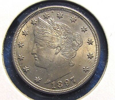 1897 USA  FIVE (5) CENTS COIN IN MS 63 grade.   ITEM #4284