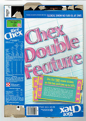 Ralston Rice Chex Double Feature 12 oz. Cereal Box 1988 - 2 Movie Tickets Offer