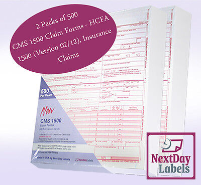1000 Forms CMS 1500 Claim Forms - HCFA 1500 (Version 02/12), Insurance Claims