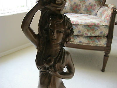 Antique Carved Side Pedestal Table - Art Deco Woman - Inlaid Marquetry Top 1920s
