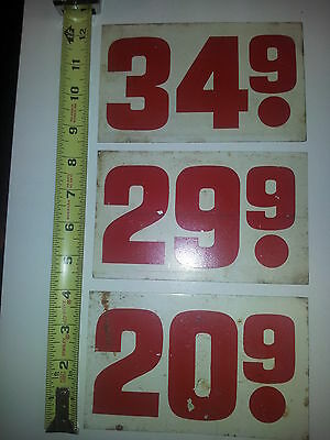 """Gas Prices  """"3"""" Small Metal Signs-40's/50's/60's, 4"""" X  6 1/2"""")"""