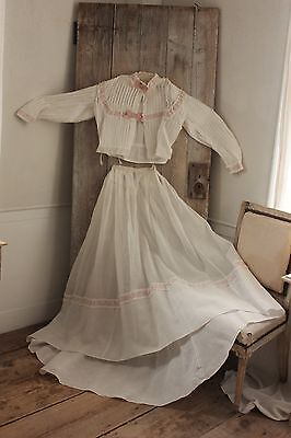 Antique Dress Victorian French batiste dress bodice outfit STUNNING
