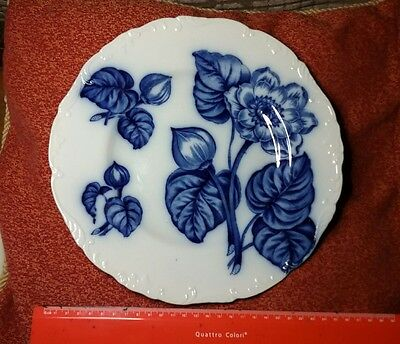 Antique Cauldon  Floral Blue and White Plate late 19th century. Beautiful