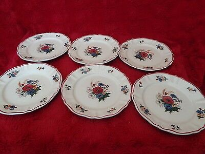 6 Assiettes A Dessert  Digoin/sarreguemines Decor Agreste
