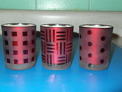 """3 Smokey Red Glass Candle Holders 2 1/2"""" Tall - Squares, Dots & Bars"""