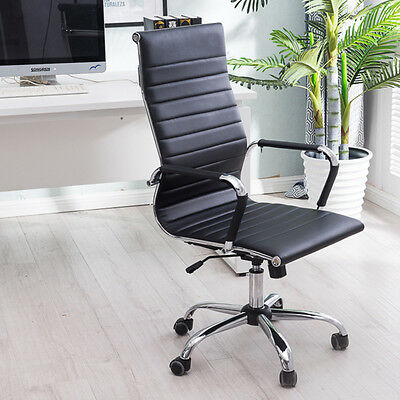 Ergonomic PU Leather Office Chair Modern High Back Executive Computer Desk UK