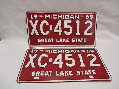 1969 Michigan License Plate – XC-4512, Matched Pair