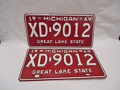 1969 Michigan License Plate – XD-9012, Matched Pair