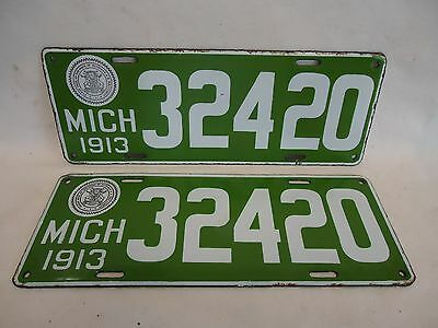 1913 Michigan License Plate  #32420   Matched Pair -  **RARE**