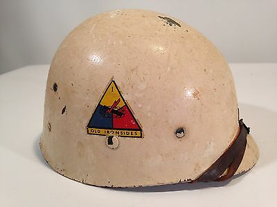 "Original WW2 1st Armored Division Army Helmet ""Vickery"" USA Estate Find WWII"