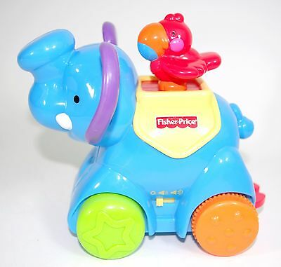 Fisher-Price Amazing Animals Press and Go Musical Blue Elephant Sound and Music