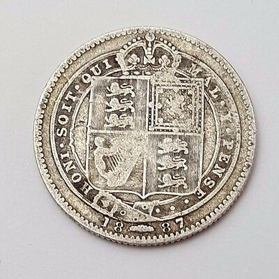 1887 - Silver - One Shilling - Great Britain - Queen Victoria - English UK Coin