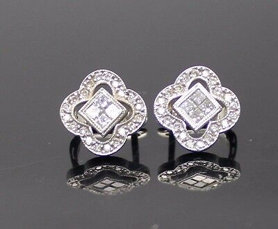 Sparkling Genuine Diamonds Accent Solid 14K White Gold Lever Back Earrings