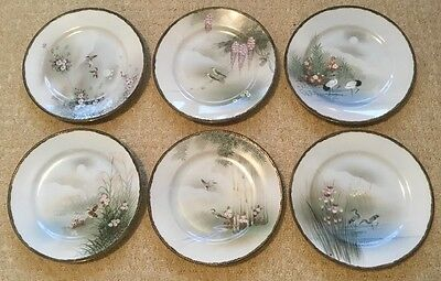 Six Vintage Japanese Eggshell Hand Painted Plates with Birds Chinese Oriental