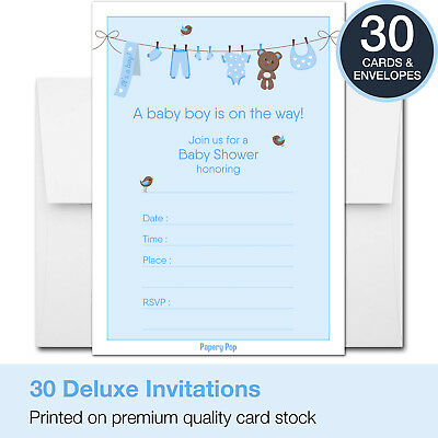 30 Baby Shower Invitations Boy (with Envelopes) - Decorations Supplies Games
