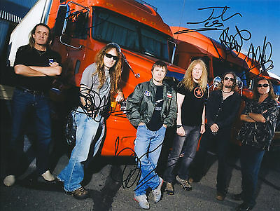"""Iron Maiden Hand Signed By All """" World Tour"""" Promo 11x8 !"""
