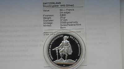 1985 Switzerland Shooting Thaler Silver Proof coin with CoA