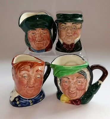 ROYAL DOULTON Miniature Dickens CHARACTER JUGS x 4 all 'A' backstamps