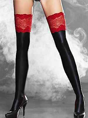 Stretchy Black Faux PVC Lace Top Wet Look Stockings and Thong BNWT size 8 10