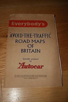 Vintage Autocar Everybody's Avoid-The -Traffic Road Map of Britain 1956