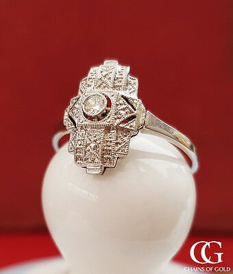 Antique Art Deco 9ct White Gold & Diamond Ring 1920-1935