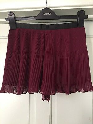 Topshop Shorts culottes Size 8 Pleated Burgundy 20s Vintage
