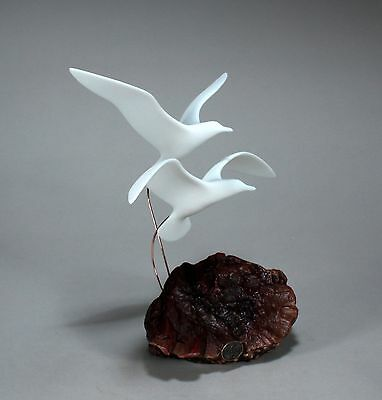 FLYING SEAGULLS Statue New direct from JOHN PERRY 16in tall Figurine on BurlWood
