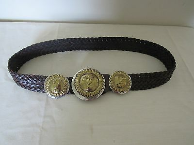 """Women's VTG Brown Braid Leather Belt Silver Gold Sun Face Buckle 38"""" Mexico"""