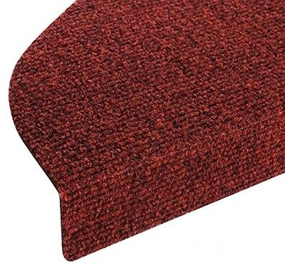 Red Casa Pura Stair Tread Mats 15 Pce Set Durable Non-slip Protection  23x65 cm
