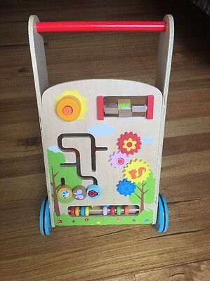 """I'm Toy"" wooden baby FIRST ACTIVITY WALKER eco push toy w games"